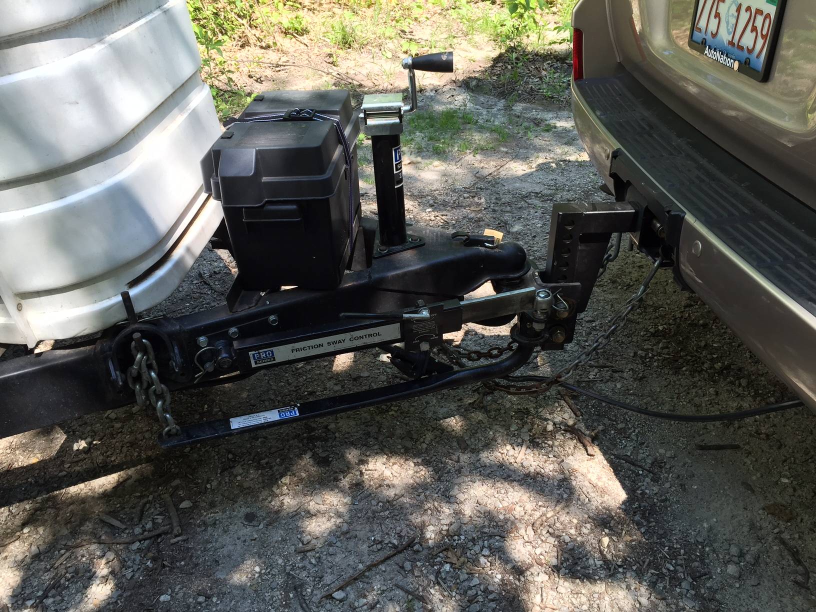 When I moved the Pro Series WD setup to the Land Cruiser, I discovered that  the trailer was not level (nose-up by several inches).